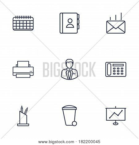 Set Of 9 Service Outline Icons Set.Collection Of Recycle Bin, Date, Telephone Directory And Other Elements.