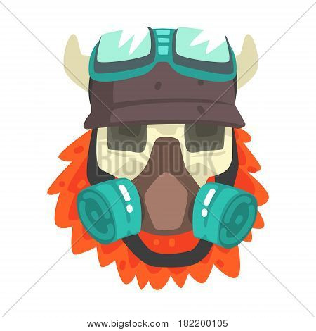 Scull In Helmet With Gas Mask, Colorful Sticker With War And Biker Culture Attributes Vector Icon. Creepy Dead Chost Rider Head Print Cool Cartoon Illustration.