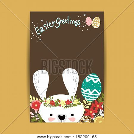 Happy Easter greeting card Brown In Background