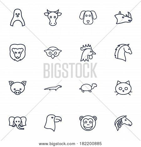 Set Of 16 Beast Outline Icons Set.Collection Of Penguin, Elephant, Eagle And Other Elements.