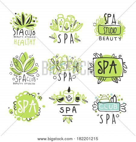 SPA healthy beauty studio set for label design. Health and beauty care. Colorful vector Illustrations for healthcare, beauty center, spa and wellness, beauty salon, shop, resort, boutique