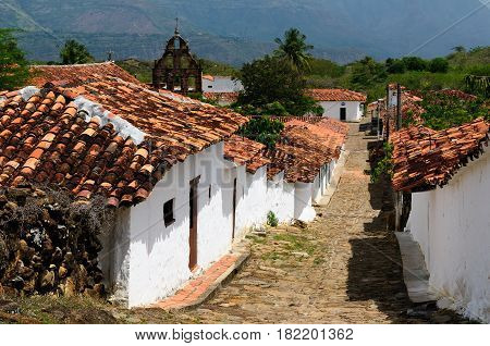 Colombia Santander View of the colonial village of Guane near Barichara city