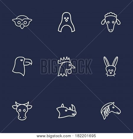 Set Of 9 Beast Outline Icons Set.Collection Of Rhino, Penguin, Mammal And Other Elements.