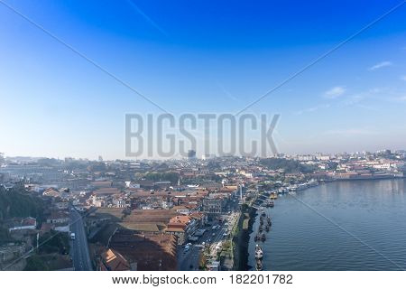 PORTO, PORTUGAL - November 17, 2016. old town of Porto and river, Portugal, Europe, is the second largest city in Portugal, has a population of 1.4 million.