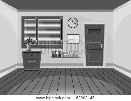 Cartoon Flat Vector Interior Office Room Black And White