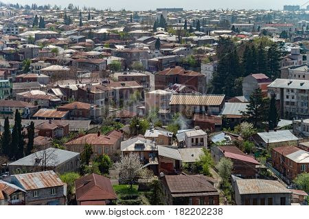 KUTAISI, GEORGIA - APRIL 01, 2017: Panorama view on Kutaisi city, Georgia at the noon. Vivid image.
