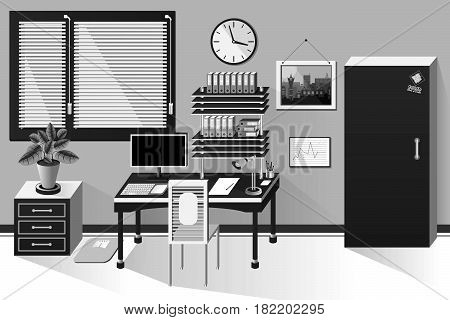 Interior Office Room In Classic Style Black And White