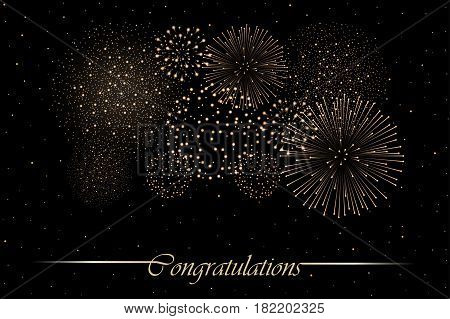 Firework Show On Night Sky Background. Independence Day Concept. Congratulations Background
