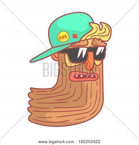 Bearded biker in motorcycle sunglasses and cap. Colorful cartoon illustration isolated on a white background