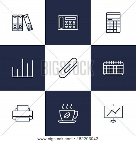 Set Of 9 Work Outline Icons Set.Collection Of Hot Drink, Contacts, Date And Other Elements.