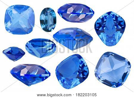 set of blue sapphire gems isolated on white background