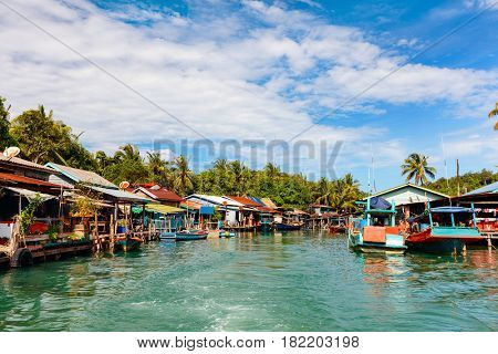 Traditional floating village on Koh Rong island in Cambodia
