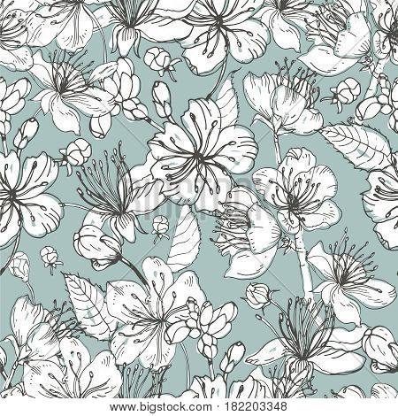 Realistic sakura hand drawn seamless pattern with buds, flowers, leaves. vintage style illustration