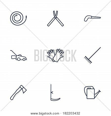 Set Of 9 Farm Outline Icons Set.Collection Of Bailer, Harrow, Safer Of Hand Elements.