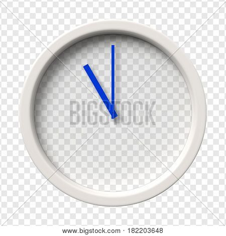 Realistic Wall Clock. Eleven oclock am or pm. Transparent face. Blue hands. Ready to apply. Graphic element for documents, templates, posters, flyers. Vector illustration.