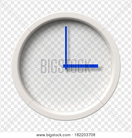 Realistic Wall Clock. Three oclock am or pm. Transparent face. Blue hands. Ready to apply. Graphic element for documents, templates, posters, flyers. Vector illustration.