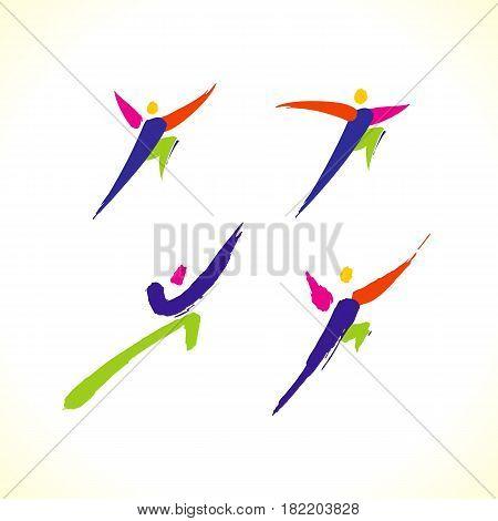 Vector Sport Colorful Stick Figure