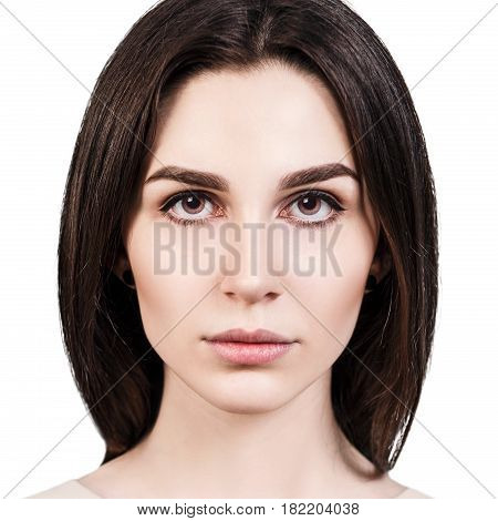 Portrait of young beautiful woman isolated on white background