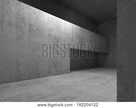 Doorway In Gray Concrete Walls, 3D Render