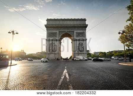 Arc de Triomphe and avenue de la Grande Armee in Paris, France