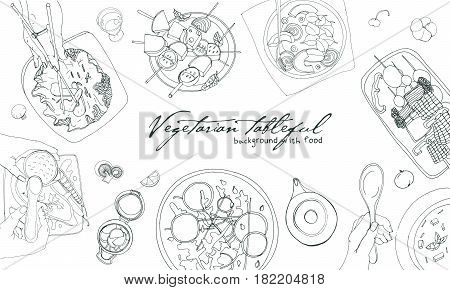Festive vegetarian tableful, laid table, holidays hand drawn contour illustration, top view. Background with place for text