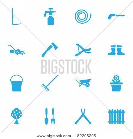 Set Of 16 Horticulture Icons Set.Collection Of Pruner, Flowerpot, Scissors And Other Elements.
