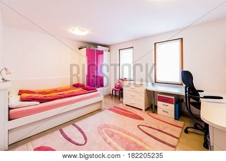 Modern Children Girl Play Room With Bed And Study Desk.