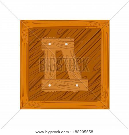 wooden alphabet D letter icon isolated on white background
