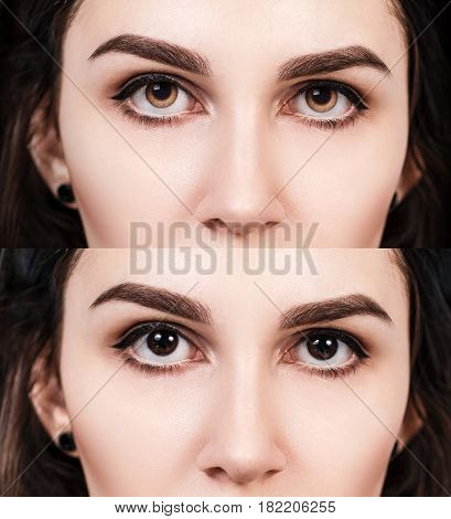 Woman's eyes with and without colored contact lenses.