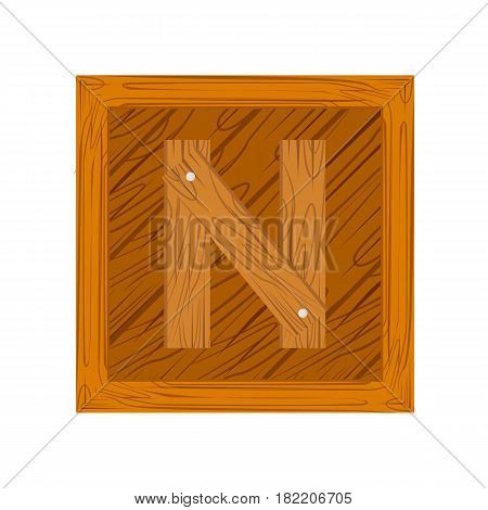 wooden alphabet N letter icon isolated on white background