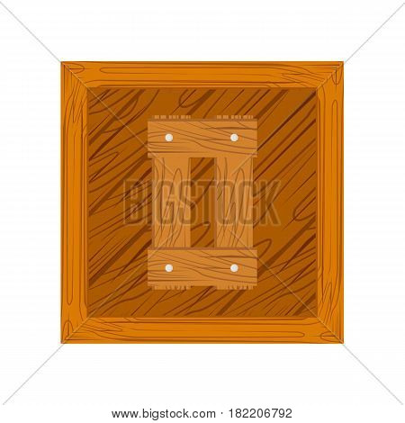 wooden alphabet O letter icon isolated on white background