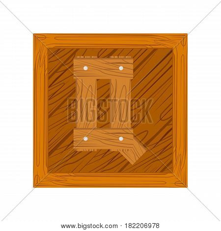 wooden alphabet Q letter icon isolated on white background