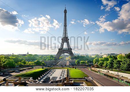 Park with fountains near Eiffel Tower in Paris, France