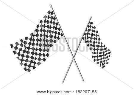 Two crossed race checkered flags, finishing checkered flag. 3d rendering isolated on white