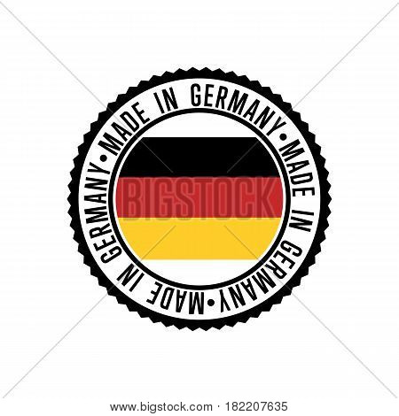 Made in Germany round rubber stamp for products vector illustration isolated on white background. Exporting stamp with deutsch flag, certificate element