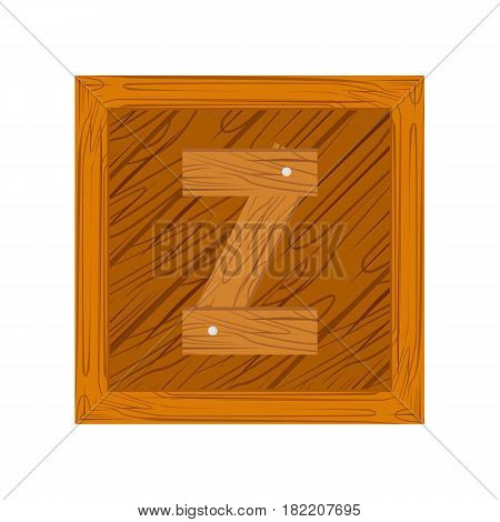 wooden alphabet Z letter icon isolated on white background