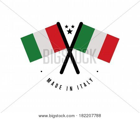 Made in Italy certificate element for products vector illustration isolated on white background. Exporting sticker with crossing italian flags