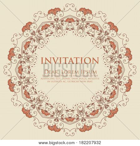 Wedding invitation vector photo free trial bigstock wedding invitation and announcement card with ornamental round lace with arabesque elements mehndi style stopboris Images