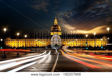 Les Invalides in Paris with evening illumination, France