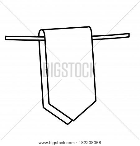 silhouette flag in a rope for decoration closeup vector illustration