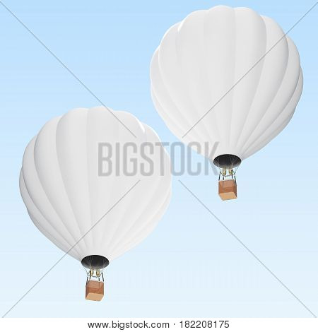 White hot air balloon on clouds background with basket, 3d rendering