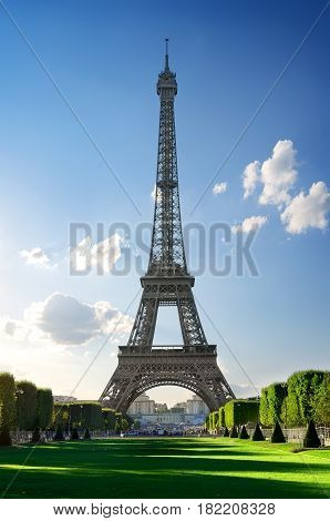 Metal Eiffel Tower and Champs de Mars in Paris, France