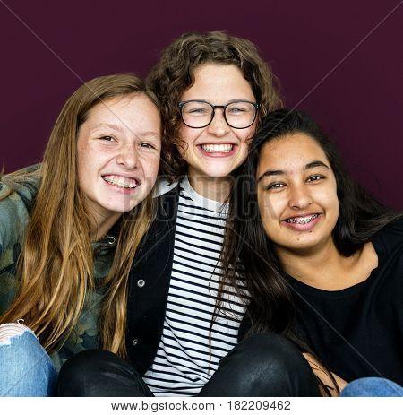 Diverse Young Adult Women Friendship Together Studio Portrait