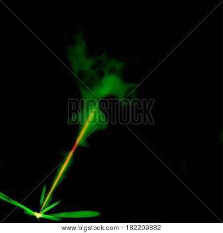yellow laser with green haze, vector illustration eps 10