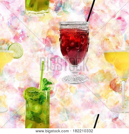 A seamless pattern of vibrant cocktails on a pastel watercolor background, including the classic Margarita and Mojito