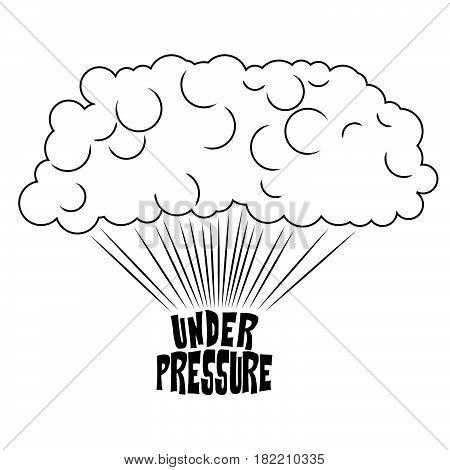 Steam rising from the inscription under pressure, pop art illustration