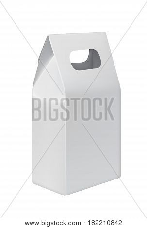 Realistic take away paper bag with copy space isolated on white background vector illustration. Packaging design element for branding.