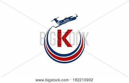 Airplane Logo Swoosh Travel Jet Initial K