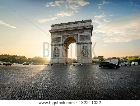 Traffic on Avenue de la Grande Armee near Arc de Triomphe in Paris, France