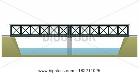 Vector train bridge in side view and isolated on white background. Industrial 2d transportation building. Metallic bridge architecture. Railway bridge with rails. Assembled double bridge construction.
